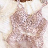 lace up × ribbon bralette set smoky lavender  【 A-0242-LA】