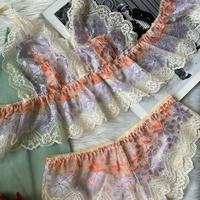 Flutter lace bralette ivory【T-0136】