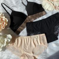 2 panties set ! cotton black× beige × black