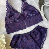 Halter neck deep purple lace set  up