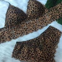 パッド付きレースブラ leopard set