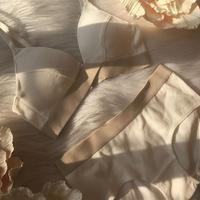 パッド付きcotton rib white × beige