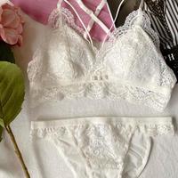 パッド付き flower lace set white【 A-0214】