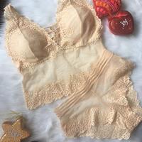 パッド付き lace bralette set up beige