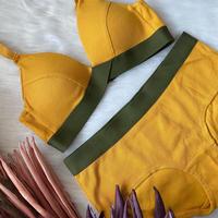 パッド付きcotton rib mustard yellow ×  khaki 【A-0230-YE】