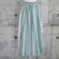 ラバープリントプリーツスカート(green×white stripes)