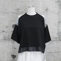 チュールTシャツ(black×black denim)