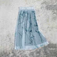 【new】Pleated long skirt(blue denim)