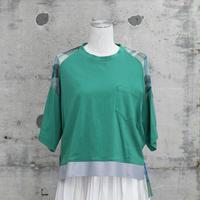 チュールTシャツ(green×green check)