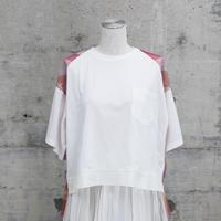 チュールTシャツ(white×pink check)