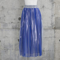 ラバープリントプリーツスカート(blue×silver)