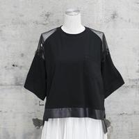チュールTシャツ(black×black dots)