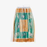 スカーフ柄プリーツスカート(orange green scarf)