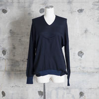 v-neck pull over knit (navy)