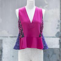 v-neck peplum blouse(pink)