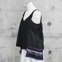 フリンジ付きキャミソール(fringe  ribbon camisole tops・black)