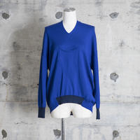 v-neck pull over knit (blue)