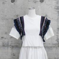 半袖ショート丈Tシャツ(fringe  ribbon T-shirt)