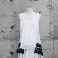 フリンジ付きキャミソール(fringe  ribbon camisole ・white)