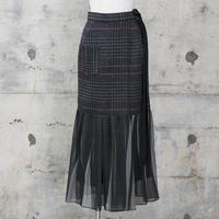裾シフォンスカート風パンツ(gray check)