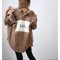 (雑誌Ray掲載商品)プリントパッチ付きコーデュロイシャツ【BROWN】