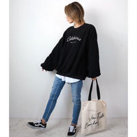 California刺繍ボアプルオーバー【BLACK/WHITE】