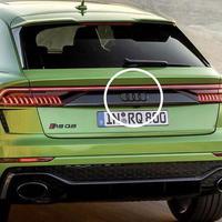 Audi 純正品 RS Q8 グロスブラック リア 4リングス エンブレム