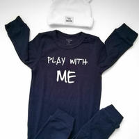 """Play with me""Long sleeve baby rompers / ""遊んでー!""長袖ロンパース ネイビー"