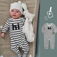 """hi"" stripe Long sleeve baby rompers / ""hi"" ストライプ柄長袖ロンパース"