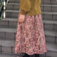chambre de charme   40ビエラ おむすびプリント 切替スカート