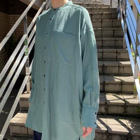 galerie tissu/ギャルリティシュ キュプラコットンバンドカラーシャツ