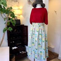 chambre de charme     60サテン 庭の花プリント ウエストフリルスカート