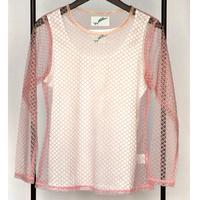 ネットTシャツ/ピンクウロコレース