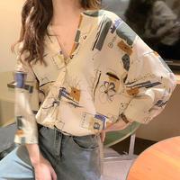 ★soldout★Vネック カジュアルプリントシャツ ma09