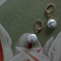 Small flat pearl pierce  【gold/silver】