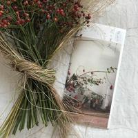 赤い果実を草のリボンで束ねて カレンダー花と果実とお庭の姫林檎セット
