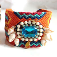 Wayuu Mochira Bracelet orage turquoise stone shell Colombia ワユー モチーラ ブレスレット wb-0001
