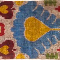 クッションカバー 黄色ハート ウズベキスタン 約35.5 x 48cm ベルベットイカット heart velvet ikat cushion cover uzbekistan vi-0004