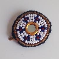 ビーズメダリオン ヘアアクセ アフガニスタン 白ミラー Afghanistan beaded medalion hair accessory HC-0004