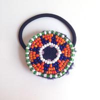 ビーズメダリオン ヘアアクセ アフガニスタン 紺星緑 Afghanistan beaded medalion hair accessory HG-0004