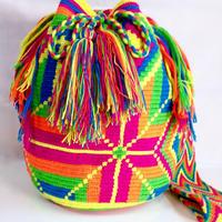 Wayuu Mochila Bag vibrant star Colombia ワユー バッグ ネオンカラーwy-0006
