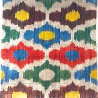 クッションカバー ダイヤ ウズベキスタン 約41 x 38.5cm ベルベットイカット diamond velvet ikat cushion cover uzbekistan vi-0005