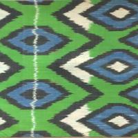 クッションカバー 緑ウズベキスタン約44 x 39cmシルクイカット green nazar boncugu silk ikat cushion cover uzbekistan si-0009