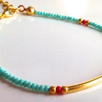 ビーズブレスレット/アンクレットターコイズ トルコ turquoise blue beads bracelet turkey bb-0004