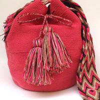 Wayuu Mochila Bag salmon pink Colombia ワユー バッグ サーモンピンクwy-0011