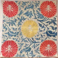 クッションカバー朱黄ウズベキスタン 約41.5 x 40cm スザニ red+yellow suzani cushion cover uzbekistan sz-0004