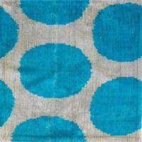 【訳あり】クッションカバー水色水玉ウズベキスタン 約39 x 39cm ベルベットイカット turquoise velvet ikat cushion cover uzbekistan vi-0009