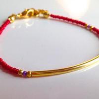 ビーズブレスレット/アンクレット 赤 トルコ red beads bracelet turkey bb-0001