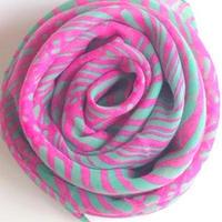 やわらかコットンスカーフピンク+ライトグリーン トルコ soft pink+light green scarf turkey sf-0002