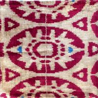 クッションカバー ヒトデ ウズベキスタン 約38 x 39.5cm ベルベットイカット starfish velvet ikat cushion cover uzbekistan vi-0010